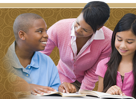 caregiver assisting the children in studying
